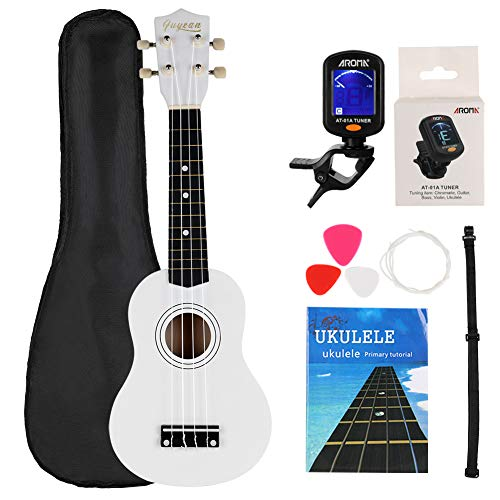 FUYXAN Soprano Ukulele Starter Kit 21 Inch Hawaiian Guitar Musical Instrument Kit with Ukulele Tuner  Strings  Pick  Strap Carrying Bag  Booklet for Beginners Students Kids Adult White