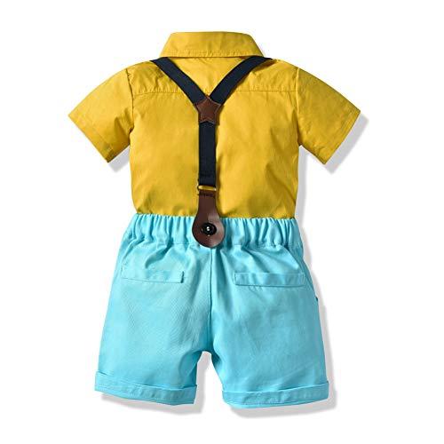 Gyratedream Zomer Casual Baby Jongen Set Gentleman Shirt met Bow Tie en Suspender Broek Kit Kids Overalls