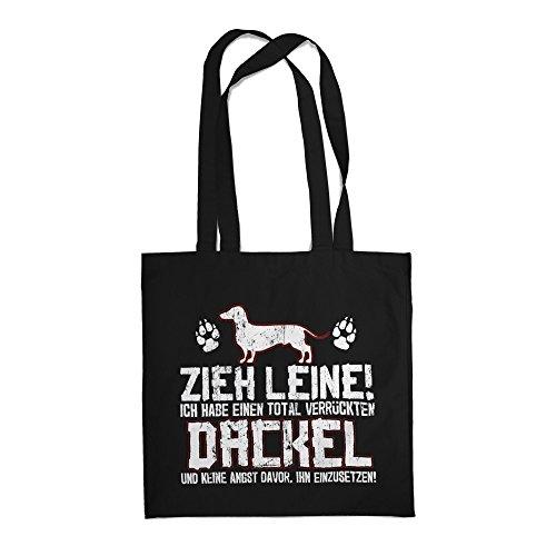 Fashionalarm Stoffbeutel - Zieh Leine - verrückter Dackel | Beutel Tasche mit lustigem Spruch Rasse Hunde Besitzer Züchter Dachshund Jäger Jagen, Farbe:schwarz