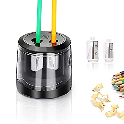 Electric Pencil Sharpeners with Dual Holes 6-8mm & 9-12mm, Automatic Sharpener for No.2 and Colored Pencils, Powered by USB or Battery Operated for Classroom,Home, Office, Artist, Students