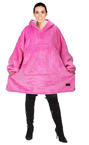 Kato Tirrinia Übergroße Sherpa Hoodie Sweatshirt Decke, Weiche Warme Riesen Hoodie Fronttasche Giant Plüsch Pullover Decke mit Kapuze for Erwachsene Männer Frauen Teenager-Studenten, Hot Pink