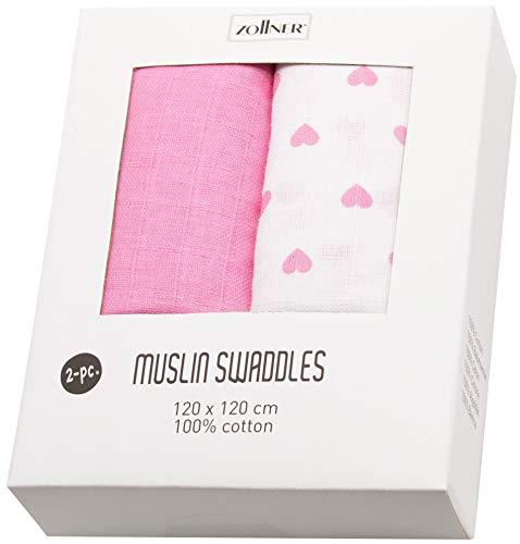 ZOLLNER 2 mussole per bambine, bianco e rosa, 100% cotone, ca. 120x120 cm