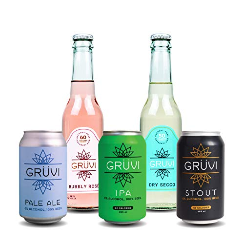 Gruvi Non-Alcoholic Beer and Wine Variety Pack, 20-Pack, IPA, Stout, Pale Ale, Prosecco, Bubbly Rose, 0% ABV, Zero Alcohol Beer and Sparkling Wine, NA Beer, NA Wine