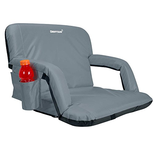 Driftsun Wide Reclining Stadium Seat - Deluxe Extra Wide Reclining Bleacher Chair with Back Support, Folding Sport Chair for Bleachers, Lawns, and Backyards (Expanded Width, Gray)