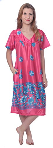 Women's Short Sleeve Housecoat Floral Duster Nightgown