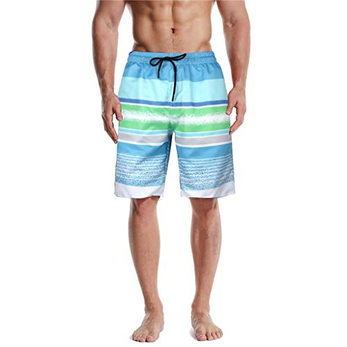 KaloryWee Strandhose für Herren Trunks 3D Print Grafik Tarnung Streifen Oberschenkellänge Männer Klassisch Casual Sportliche Strandhose(X-Large,Grün B)
