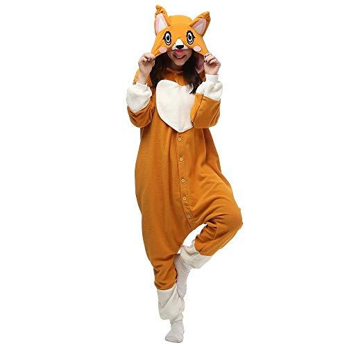 Schlafanzug Tier Adult Cute Corgi Dog Pyjamas Footed Kigurumi Onesies Cosplay Kostüme Unisex Nachtwäsche Corgi Hund_M.