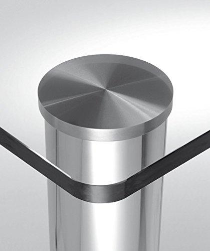 Gedotec Rond Table Pied Meuble - Couvercle de Fixation de Pied de Table en Aluminium Argenté pour Table et Plan de Travail en Verre de Cuisine, Salle à Manger - Diamètre 110 mm - M10 - 1 Pièce