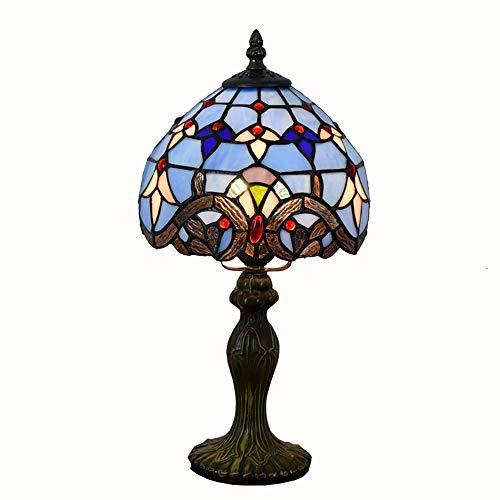 MGWA Lámpara de Mesa Creative LED Stained Glass Living Comedor/Dormitorio/Lámpara De Mesilla De Noche/Bar Lámpara De Mesa Azul