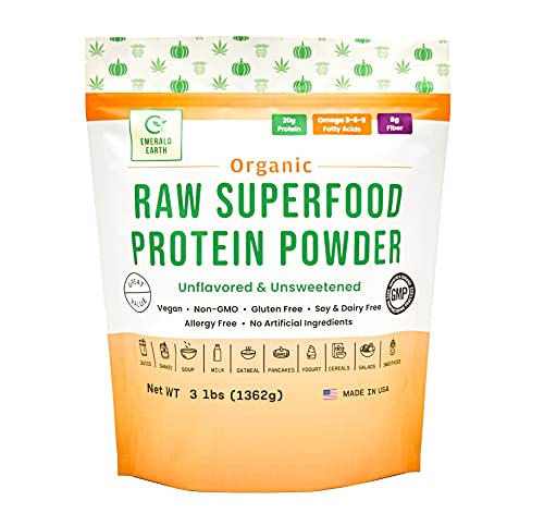 Emerald Earth Certified Organic Raw Superfood Protein Powder - 3LB - for Shakes and Smoothies - Plant Based - Soy Free - Non GMO - Vegan - Cold Pressed – 20G of Protein per Serving (Unflavored)