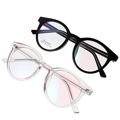 HEALLILY 2 Pares de Montura de Gafas de Forma Redonda Gafas de Moda para Mujeres Y Hombres