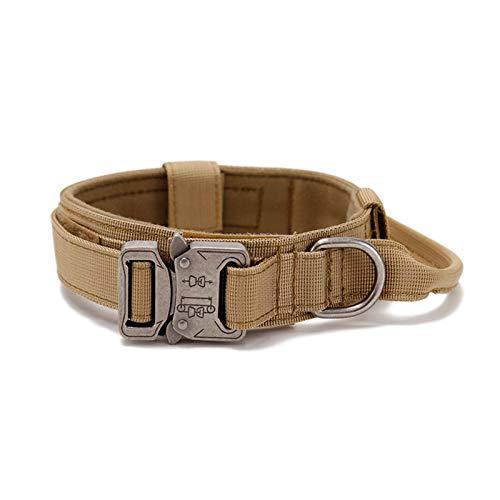 Sroomcla Collares de Perro de Nylon, Collar Perro, Collar ajustable para perros Collar resistente con asa para perros grandes, Anti-Desgaste Entrenamiento táctico al Aire Libre Cinturones de improved