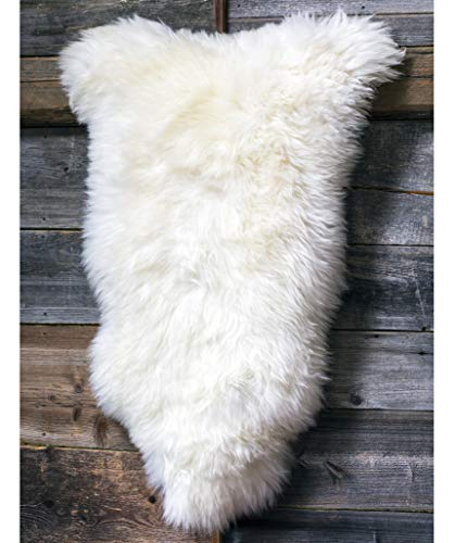 White, Fluffy, Soft and Silky Genuine Icelandic Sheepskin Wool Rug wsi (M 44' White)