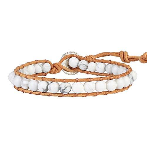 KELITCH New Turquoise Beaded Wrap Bracelets Natural Leather Bracelets Boho Adjustable Bracelets