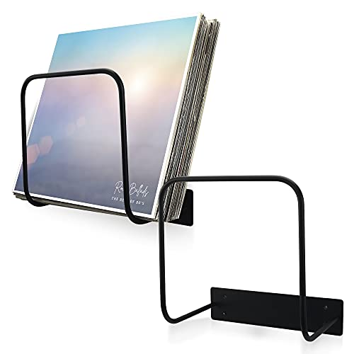 Aesthetic Vinyl Record Holder Set of 2 - Easy to Install Vinyl Storage Rack for Up to 40 Single Records - Perfect Wall Mount Album Holder to Store and Display Your Valuable Vinyl Collection