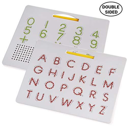 Qeedio Magnetische Tekening Board 2 in 1 Alfabet Letter Tracing Board Educatieve Letters Lezen Schrijven Leren Kleuterschool Gift Hoofdletters + cijfers