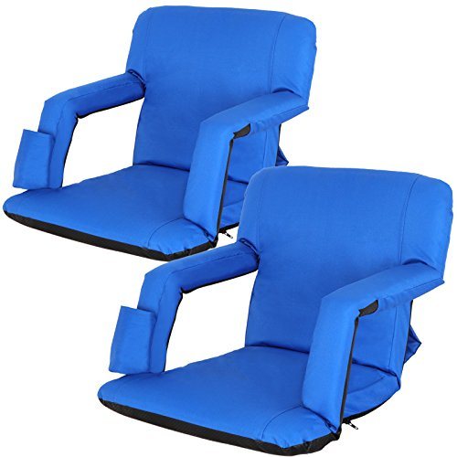 Smartxchoices 2-Pack Stadium Seat Chair Bleacher Seats 5-Reclining Positions Padded with Back Support Cushion Arms Pocket Portable Folding Seat with Shoulder Straps