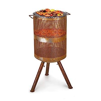 blumfeldt Flame Goblet - Fire Bowl & Grill, Fire Barrel, Chrome-Plated Grill Grate, Fire Bowl: Ø 44 cm, Grill Grate: Ø 44 cm, Dimensions: 44 x 101 cm (ØxH), Used Look: Artificial Rust Look, Brown from Blumfeldt