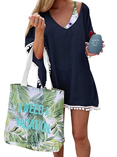 Adreamly Women's Pom Pom Trim Kaftan Chiffon Swimwear Bathing Suit Beach Cover Up Free Size Navy Blue