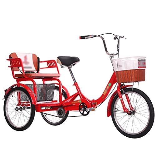 ZNND Bicicletas reclinadas 20 Pulgadas Triciclo para Adultos Velocidad Única Bicicleta 3 Ruedas Ajustar Triciclo Rickshaw para Personas Mayores Pedal Crucero con Cesta para Compras (Color : Red)