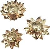 Crafting with Love A Beautiful Brass Set de 3 piezas de Lotus Diya para mejorar la belleza de tu hogar, tamaño: 5 pulgadas