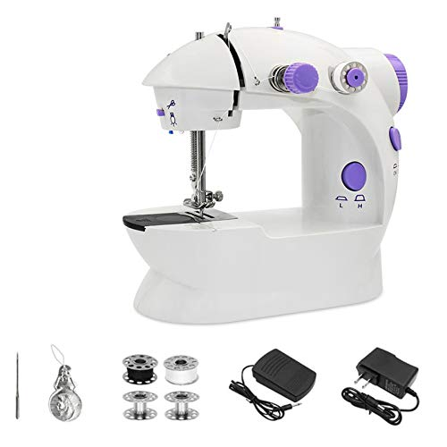 Mini Sewing Machine - Portable Household Electric Sewing Machine with Adjustable 2-Speed Double Thread & Foot Pedal for Home Travel