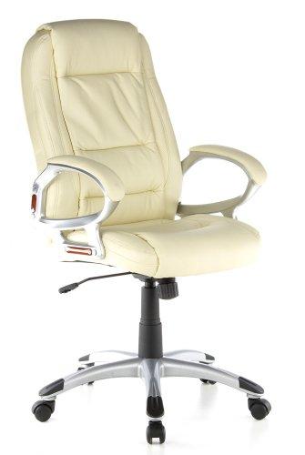 Buerostuhl24 62125 Riviera - Silla de oficina de piel (PU), color Crema