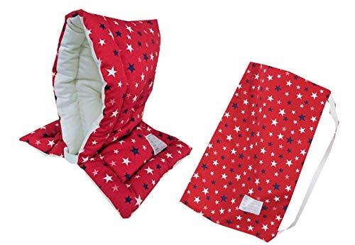 防災ずきん専用カバー付 日本製(小学生から大人まで)Lサイズ 防災クッション(約30×46cm) (スター(レッド))