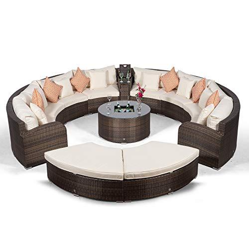 Giardino Riviera 8 Sitzer Rattan Gartenmöbel Set Braun - Sofa mit Kühlbox, Eiskühler Sofatisch, 2X Ottoman + Abdeckungen - Lounge Möbel Set 12-teilig