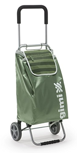 Gimi Italian Design Lightweight Foldable Wheeled Shopping Trolley, Green