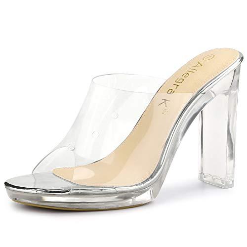 Allegra K Damen Peep Toe Blockabsatz Panel Klar Slingback High Heels Sandalen Silber 36 EU