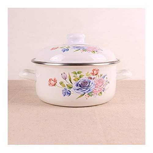 European Style Porcelain Enamel verdikking Double Oren Soup Babyvoeding Stewpot Stockpot Saucepan Noodle Milk Porridge (Color : 22cm with enamel lid)