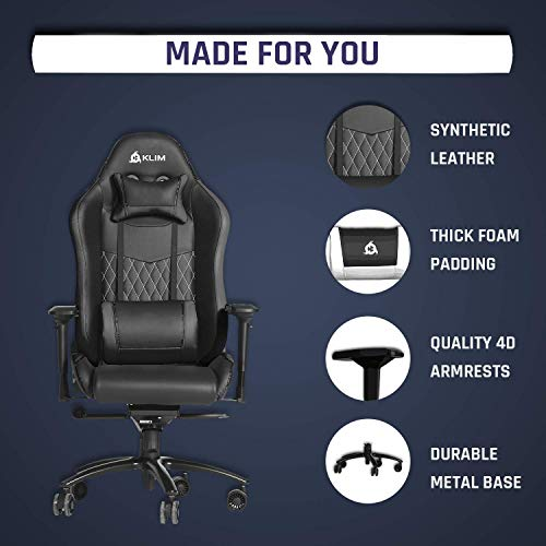 KLIM Esports - Chaise Gaming + Simili Cuir et Matériaux Premium Haute Qualité + Chaise Gamer inclinable + Ergonomique avec Coussin Lombaire et Cervical + Fauteuil Gamer Noir Nouvelle Version 2021