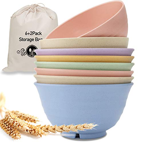 Unbreakable & Lightweight Cereal Bowls Set of 8, Wheat Straw Dinnerware (6 pcs X 30 oz & 2 pcs X 24 oz), 8 Bowls and 8 Spoons Set, Microwave and Dishwasher Safe for Rice, Fruit, Noodle, Soup Bowls