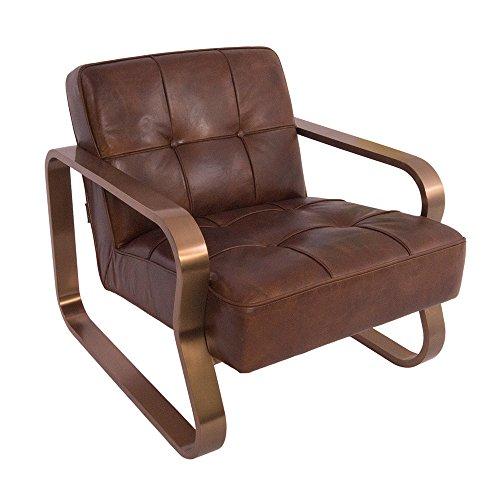 Design-Clubsessel Savona Vintage Cigar Edelstahl Kupfer-Finish Ledersessel Leder Sessel