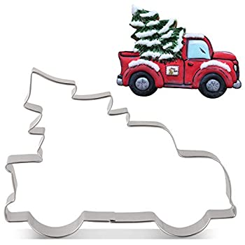 LILIAO Pickup Truck with Christmas Tree Cookie Cutter - 4.9 x 3.6 inches - Stainless Steel