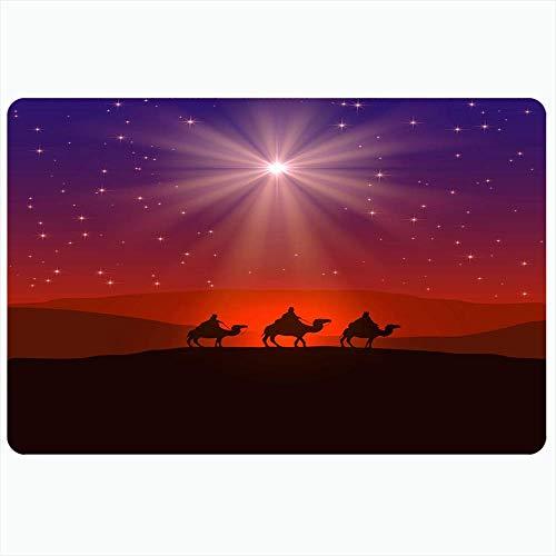 Badteppich für Badezimmer rutschfeste Matten Silhouette Männer Raum rot geborene Szene Weihnachten traditionelle Kopie Geburtsstern an blauen Feiertagen lila Plüsch Dekor Fußmatte rutschfeste Rückenma