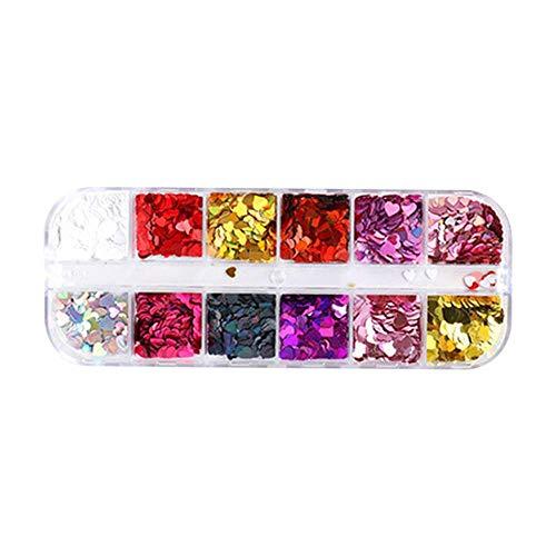 XJF 12 colores de lentejuelas de purpurina para uñas, corazón de amor 3D, diseño holográfico de uñas, decoración de purpurina