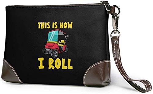 ngxiandaz Dies ist, wie ich Damen Herren Leder Bagwristlet Wallet Clutch - kleine Handytasche Handtasche rolle