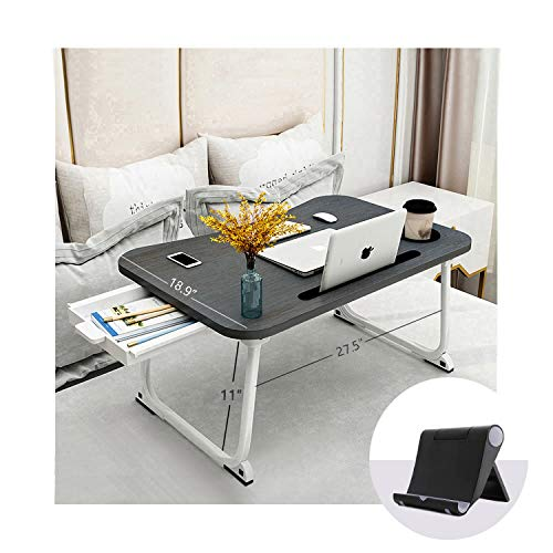 """MGsten Bed Table, XXL Portable Lap Desk with Cup Holder, Foldable Desk for Bed with Storage Drawer and Phone Stand, Ergonomic Standing Lap Table Tray in Couch/Sofa/Office(27.5""""x18.9""""x11"""")"""