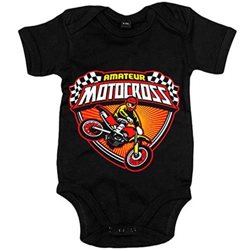 Body bebé Motocross Amateur - Negro, Talla única 12 meses