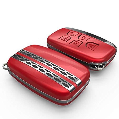 LUOLONG Car Key Case, Land Rover Range Rover Sport Evoque Discovery Sport 4 5 per Jaguar XE Xfl Chiave dell'automobile della Copertura della Cassa di Metallo Accessori Key Chain, Copertura Rosso