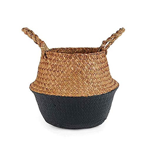 ZJH 1 Pcs Hand-Woven Laundry Baskets, Hanging Flower Pots with Handles Made of Wicker, Dirty Clothes Blue for The Bedroom, Easy-To-Clean Toy Storage Baskets,Black,S