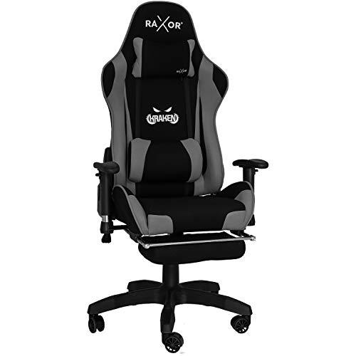 RAXOR Racing Hochwertiger Bürostuhl Gaming Stuhl,Ergonomischer höhenverstellbar Schreibtischstuhl Chefsessel Computerstuhl Drehstuhl mit einstellbaren Armlehnen, PU Sportsitz Racing Chair(anthrazit)