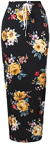 Casual High Waist Drawstring Maxi Skirt Made in USA Black Floral XXXL product image