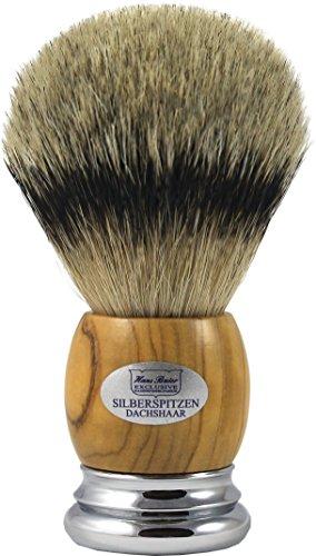 Hans Baier Exclusive Rasierpinsel Silberspitz Dachshaar - Griff Echt Olivenholz Größe 3, 124 g
