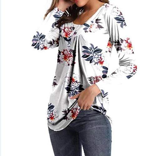 Camiseta Casual Suelta con Estampado De Manga Larga con Cuello En V De OtoñO E Invierno