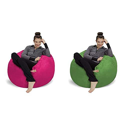 Sofa Sack - Plush, Ultra Soft Bean Bag Chair - Memory Foam Bean Bag Chair with Microsuede Cover - Magenta 3' & Ultra Soft Bean Bag Chair - Memory Foam Bean Bag Chair with Microsuede Cover - Lime 3'