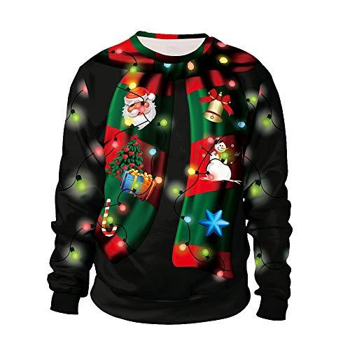 ODOKEI Unisex Felpa Natale Senza Cappuccio Funny 3D Christmas Maglioni Natalizi Stampato Pullover...