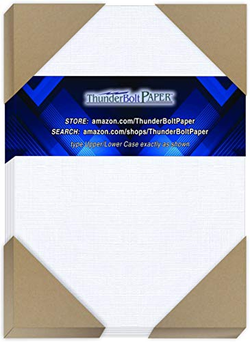 "75 White Linen 80# Cover Paper Sheets - 5"" X 7"" (5X7 Inches) Photo